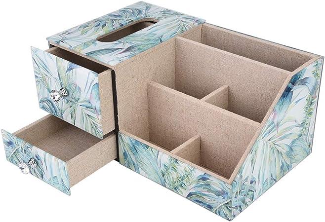 ZJchao Caja de almacenamiento de cosméticos para pañuelos, caja de almacenamiento multifuncional de cristal, diseño de bosque de lluvia con compartimentos para joyas, organizador de relojes, soporte de almacenamiento: Amazon.es: Hogar