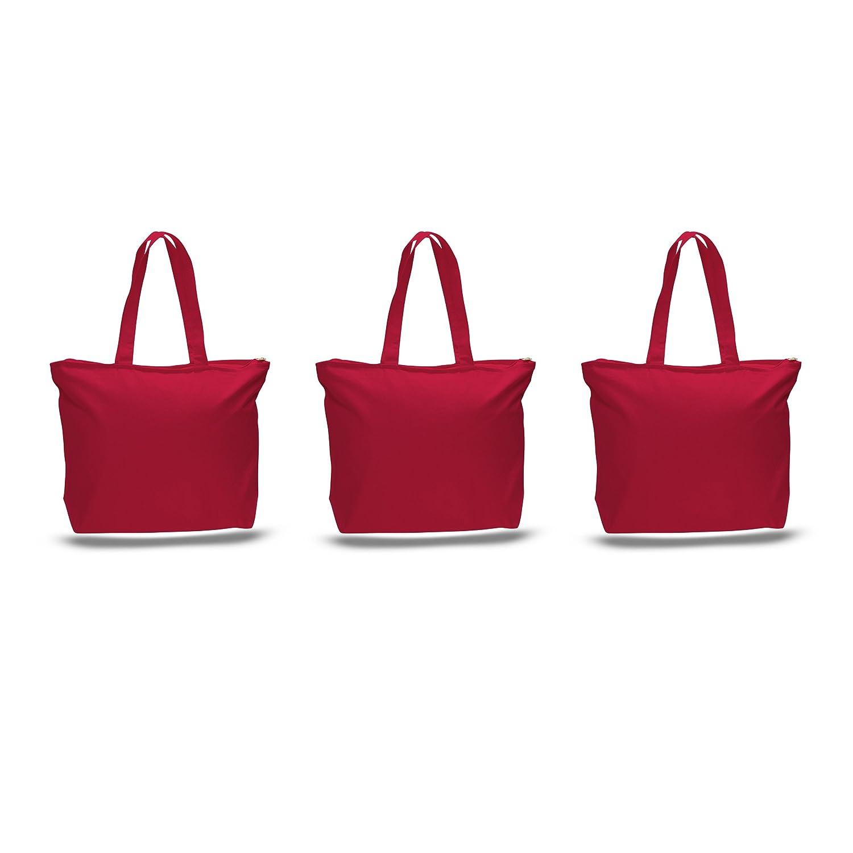 Pack of 3 Largeヘビーキャンバスプレーントートバッグ、トップと内側ファスナー開閉by bagzdepot レッド B01NAW1OJN レッド レッド