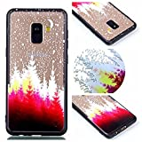 Gostyle Samsung Galaxy A8 2018 Clear Case,Hybrid 2 in 1 Soft Silicone TPU Frame + Transparent Hard PC Back Cover,Ultra Thin Fashion Creative Pattern Shockproof Bumper Cover,Tree Moon