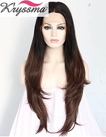 K ryssma Ombre Black to Dark Brown Lace Front Wigs Synthetic Long Natural  Straight Layered d53158ce6