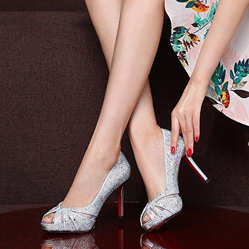 Tacón de GYHDDP Primavera Boda de Boca 34 Color Mujer de Alto de de Plata para Zapatos Pescado Verano Tamaño Sandalias Zapatos La Sandalias Moda 565wrpE