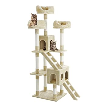 Finether Rascador para Gato Árbol de Gato Plataforma para Gato Casita de Gato, de Sisal Natural, con Columnas, Color Beige, 181cm