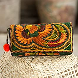 Changnoi Handcrafted Boho Wallet/Purse with Hmong Tribal Embroidered Pom Pom Zip Pull Fair Trade Purse for Women