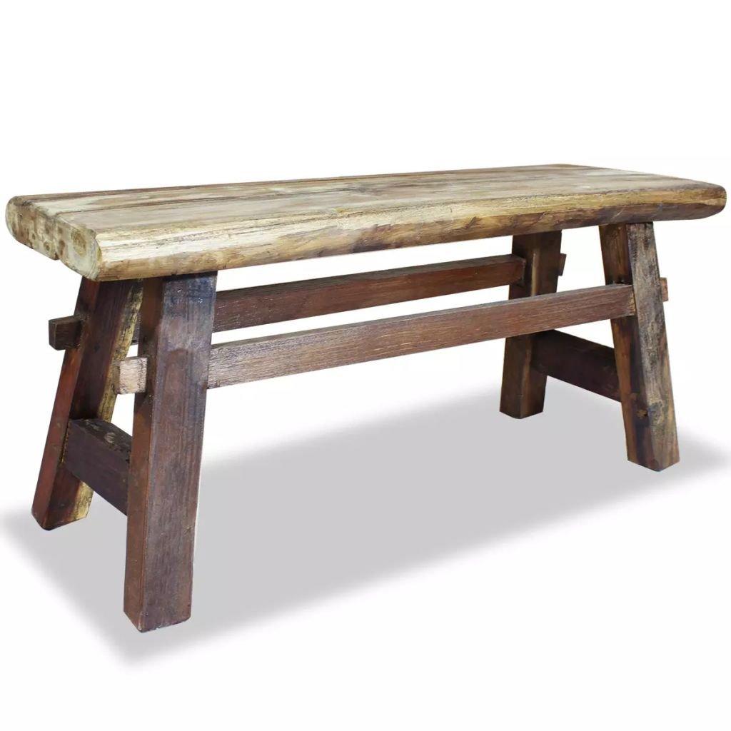 Festnight Vintage Wood Dining Bench, Antique Handmade Garden Dining Bench Furniture Solid Reclaimed Wood