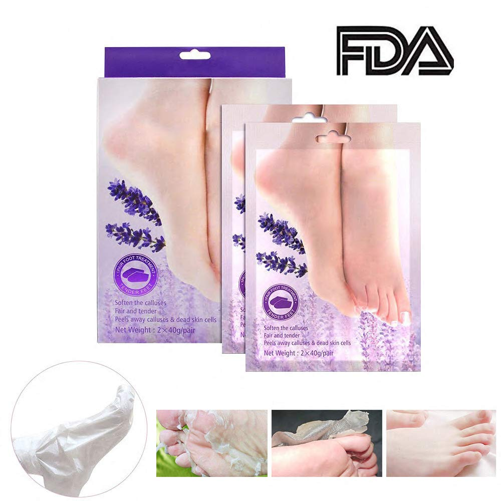 BOMPOW Foot Peeling Mask, Exfoliating Socks Foot Mask, Peel Off Dry Dead Cracked Hard Skin in 3-7 Days, Lavender Scented Exfoliating Foot Socks, 2 Pairs GUANGZHOU CHUYU COSMETICS CO. LTD BOMPOW Foot Peel Mask