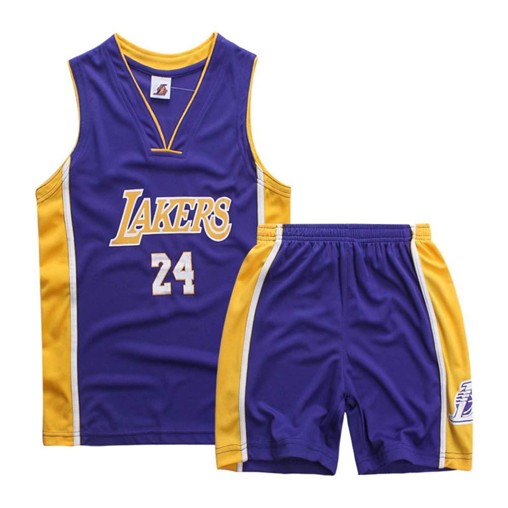 Color : C, Size : S NBA Jerseys Basketball Vest Summer Shorts ZAIYI-Jersey Childrens Basketball Wear Boys and Girls Basketball Jerseys Los Angeles Lakers Kobe Bryant #24