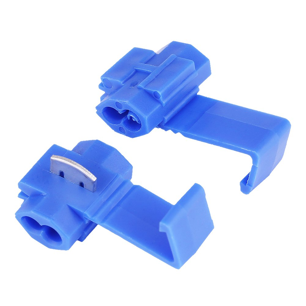 Quick Wire Splice Clips, 50pcs Wire Terminal Connectors Blue Lock Splice Clips Quick Splice Cable Clip Keenso