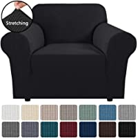 "Stretch Couch Cover Sofa Covers Furniture Covers Sofa Slipcover Feature High Spandex Textured Lycra Small Checks Jacquard Fabric with Elastic Bottom(Armchair 32""-48"" Wide, Black)"