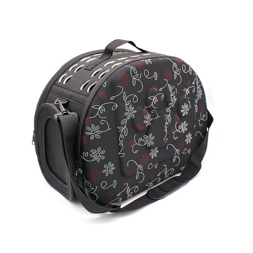 Vedem Pet Collapsible Carrier Duffle Bag EVA Lightweight Travel Tote Bag for Dogs Cats Rabbits (S, Black-Floral)