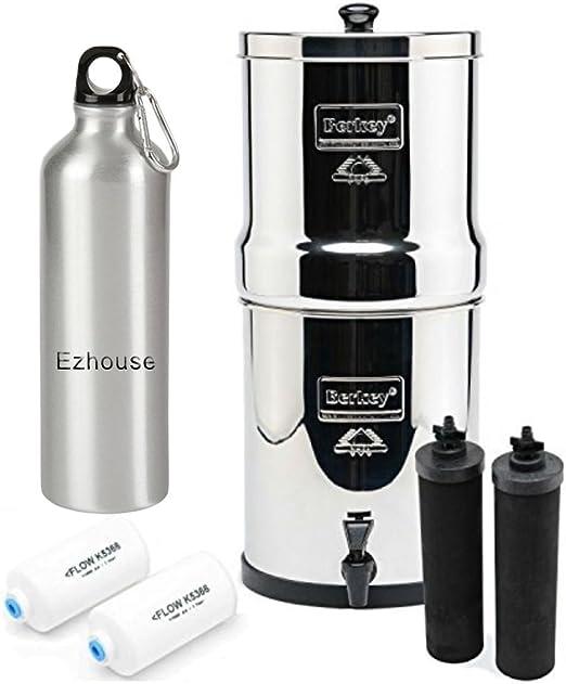 De viaje Berkey sistema de filtro de agua 1,5 litros con 2 negro ...
