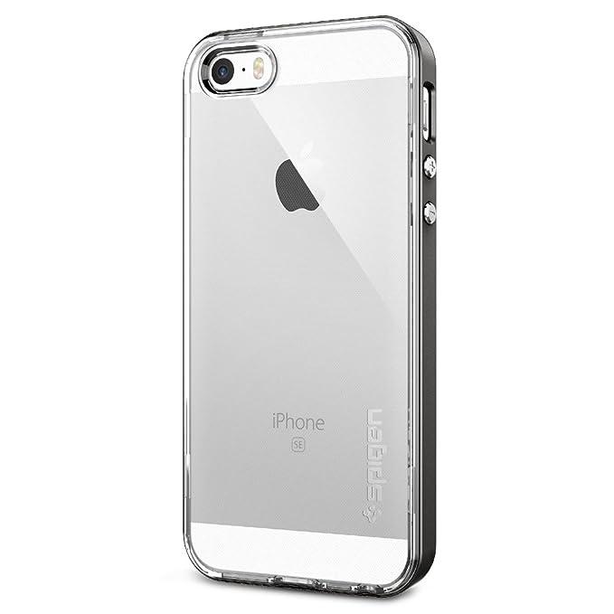 quality design 5fc59 9863a Spigen Neo Hybrid Crystal iPhone SE Case with Flexible Inner Casing and  Reinforced Hard Bumper Frame for iPhone SE 2016 - Gunmetal