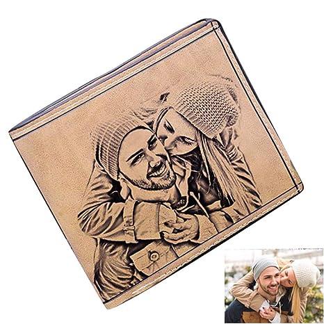 Cartera Personalizada Grabado Personalizado Carteras fotográficas Monedero de Cuero de Vaca Titular de la Tarjeta de