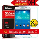 Galaxy Grand 2 Glass Screen Protector,(G7102 G7106) [2 Pack ] AnoKe [Lifetime Warranty](0.3mm 9H 2.5D) Best Tempered Glass Screen Protector Film Shield Guard For Samsung Galaxy Grand 2, G7106 Glass 2Pack