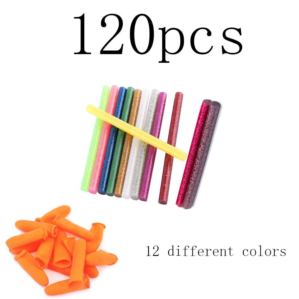 120 Pack Glitter Hot Melt Adhesive Gule Stick 7mm x 100mm Multi Color with 10 Silicone Finger Protectors Covers Caps for Hot Glue Gun 20-30w DIY Craft Projects