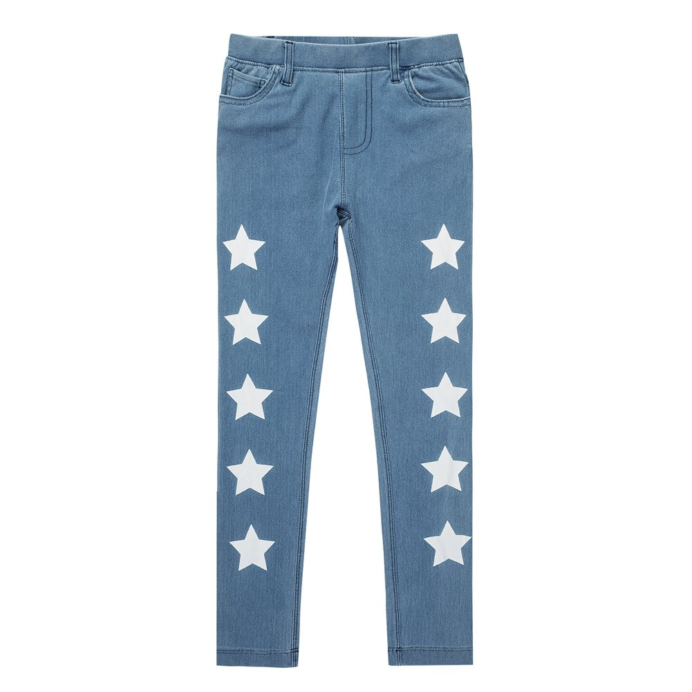 UNACOO Kids Girls Knit Denim Cartoon Printed Jeans(Stars, XL(11-12T))