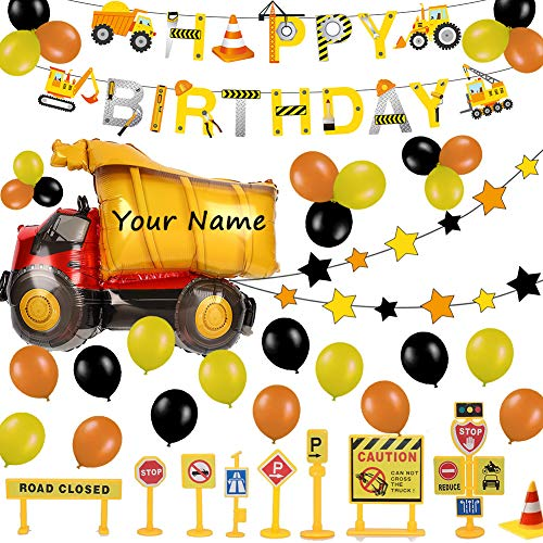 52 Pack Construction Birthday Party Supplies Kit - Construction Happy Birthday Banner, Giant Dump Truck Balloon, Star Garland, Road Sign Model for Cake Decoration | Aster Birthday Decor Set for 1st 2nd 3rd 4-12 year Boys]()