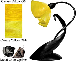 product image for Jezebel Radiance Lazy Daisy Lamp. Hardware: Black. Glass: Canary Yellow, Lily Style
