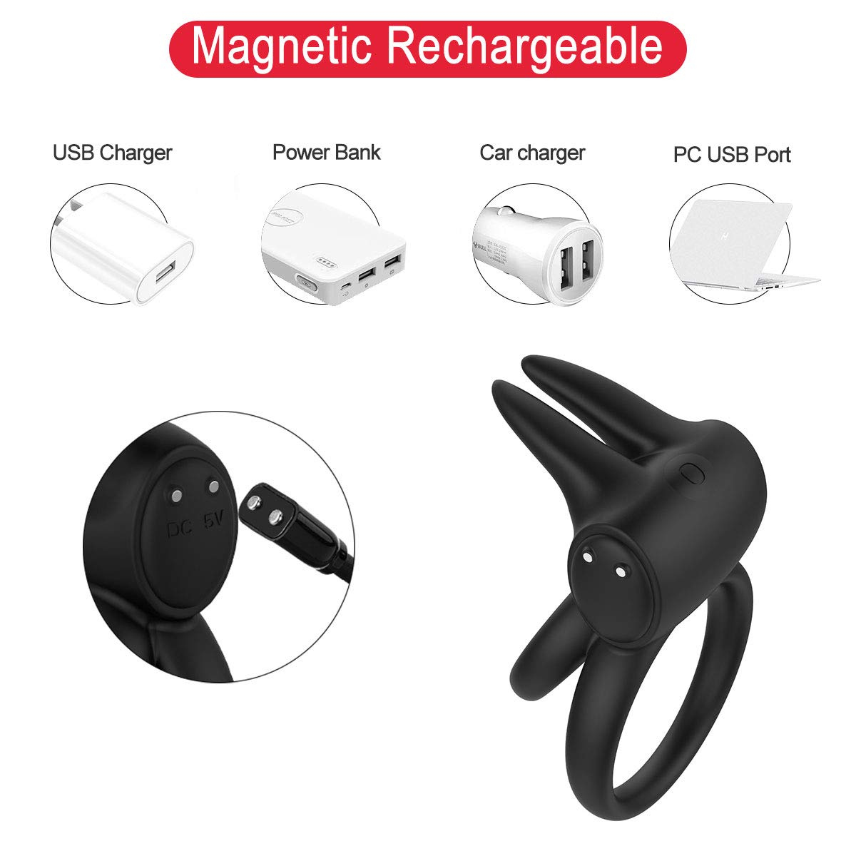 Cock Ring Vibrator with Rabbit Ears Double Ring 7 Vibration Modes for Couples, PALOQUETH Wireless Remote Control Vibrating Penis Enhancer Ring Vibrator Rechargeable Waterproof Travel Lock Function by PALOQUETH (Image #6)