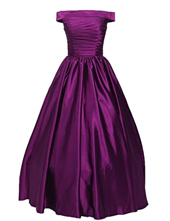 Stillluxury Off Shoulder Satin Ball Dress with Pockets Women Formal Evening Gowns Prom Long Purple Size