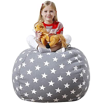 "Aubliss Stuffed Animal Bean Bag Storage Chair, Beanbag Covers Only for Organizing Plush Toys, Turns into Bean Bag Seat for Kids When Filled, Premium Cotton Canvas, 38"" Extra Large Light Gray Star: Home & Kitchen"