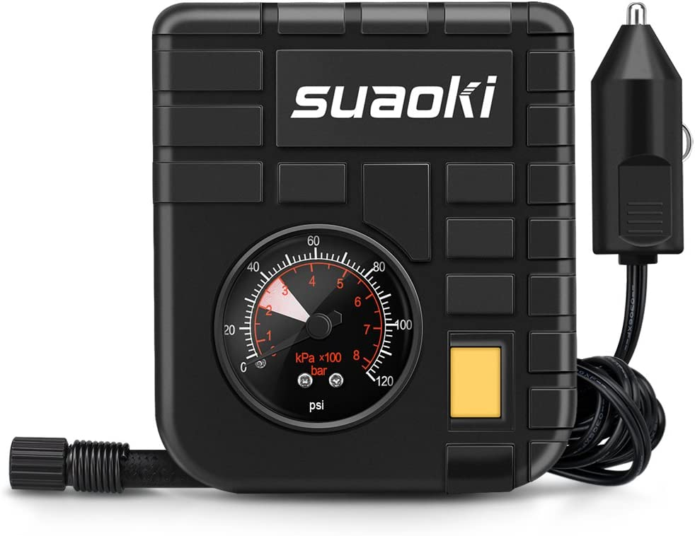 Suaoki - Mini Compresor de aire portátil, bomba inflador con luz LED (12V, 120 PSI, 3 adaptadores boquilla, 4