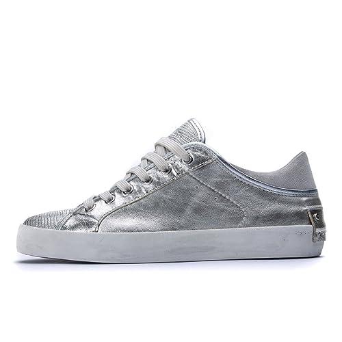 Crime London - Zapatillas de Piel para Mujer Plateado Plateado Plateado Size: 38 EU: Amazon.es: Zapatos y complementos