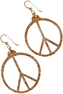 product image for Hand Hammered Peace Symbol Peace Bronze Earrings on French Hooks