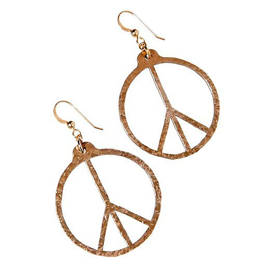 Pendientes de bronce con símbolo de paz martillado a mano en ...
