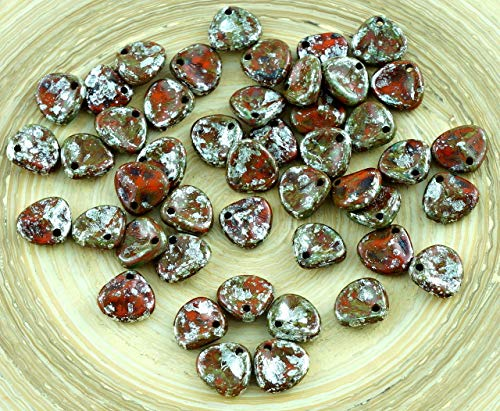 Marble Pressed Glass (50pcs Red Silver Marble Picasso Czech Rose Petal Flower Flat Glass Pressed Beads 8mm x 7mm)