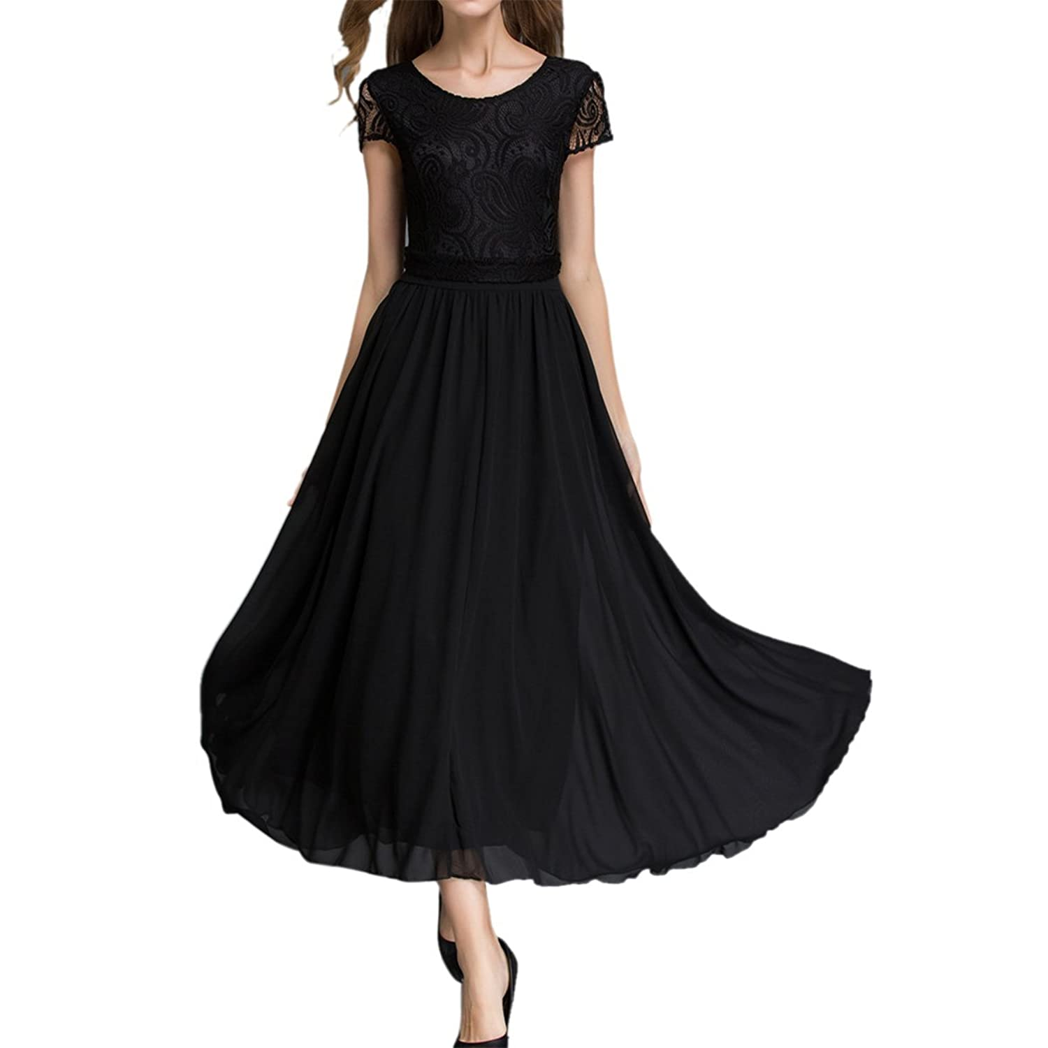 Sue&Joe Womens Bridesmaid Dress Lace Top Short Sleeve Ankle Length Chiffon Dress at Amazon Womens Clothing store: