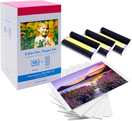 """KP-108IN Color Ink /& Photo paper Set for Canon Selphy CP780 CP910 CP1300 4/"""" x 6/"""""""