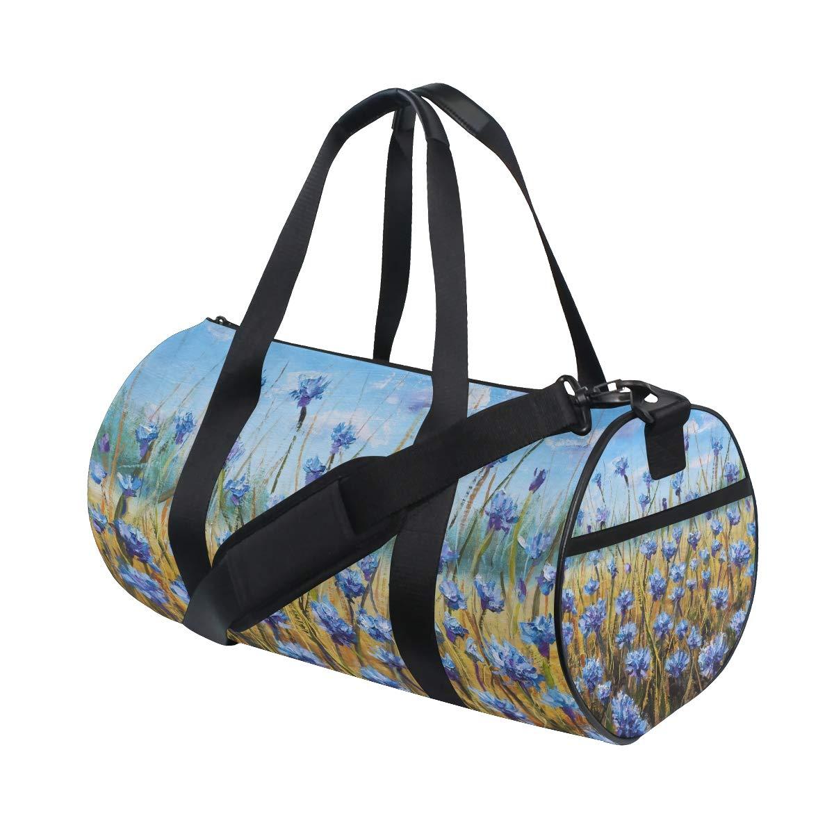 Blue Flowers Sports Gym Bag Travel Duffel Bag with Pockets Luggage & Travel Gear Shoulder Strap Fitness Bag