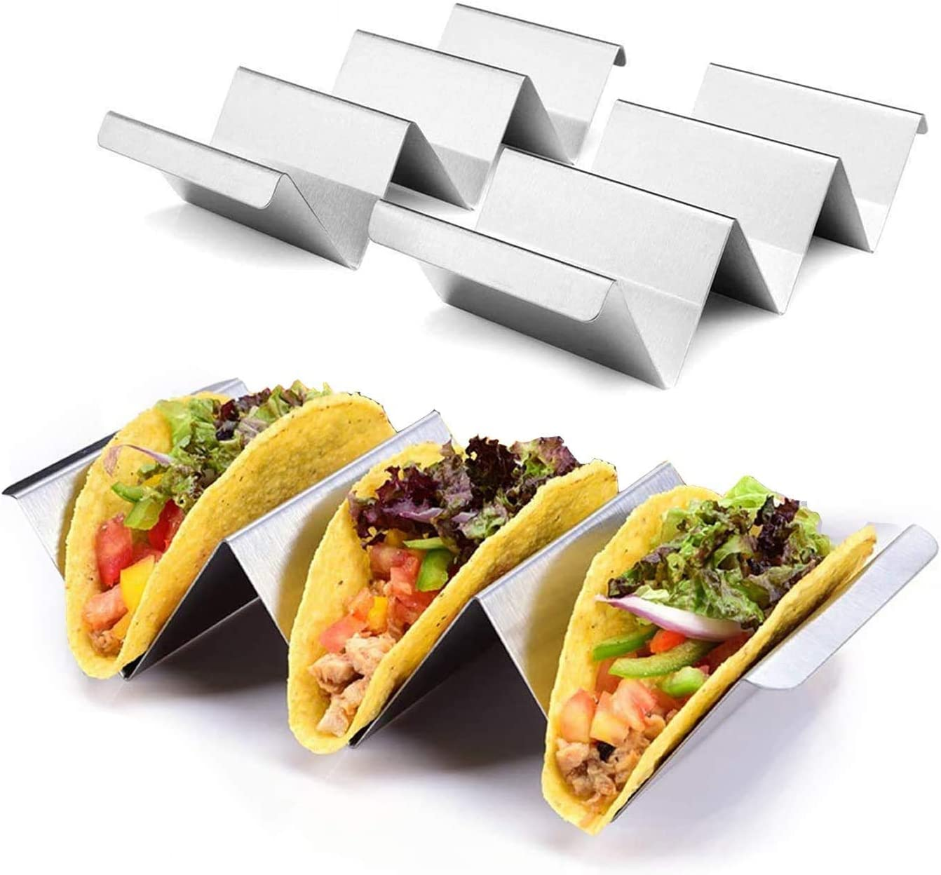 """Taco Holder Stands, Set of 4 - Oven & Grill Safe Stainless Steel Taco Racks Taco Trays with Handle, Taco Rack Hold Up To 3 Shells for Restaurant & Home Kitchens, Dishwasher Safe - Size 8.5"""" x 4"""" x 2"""""""