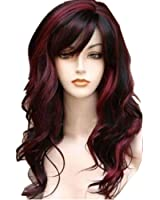 WeAlake Women Long Big Wave Mix Full Volume Curly Wavy Hair Wigs Cosplay Christmas Party Costume Wig + Free Wig Cap