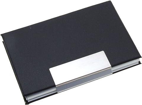 Elegant Metal Business Cards Holder Coated Leather Black