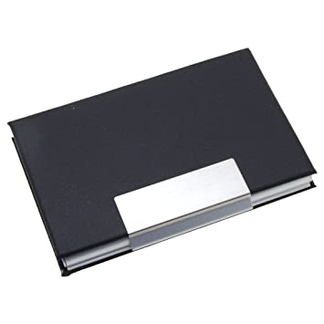 Elegant metal business cards holder coated leather black amazon elegant metal business cards holder coated leather black reheart Gallery
