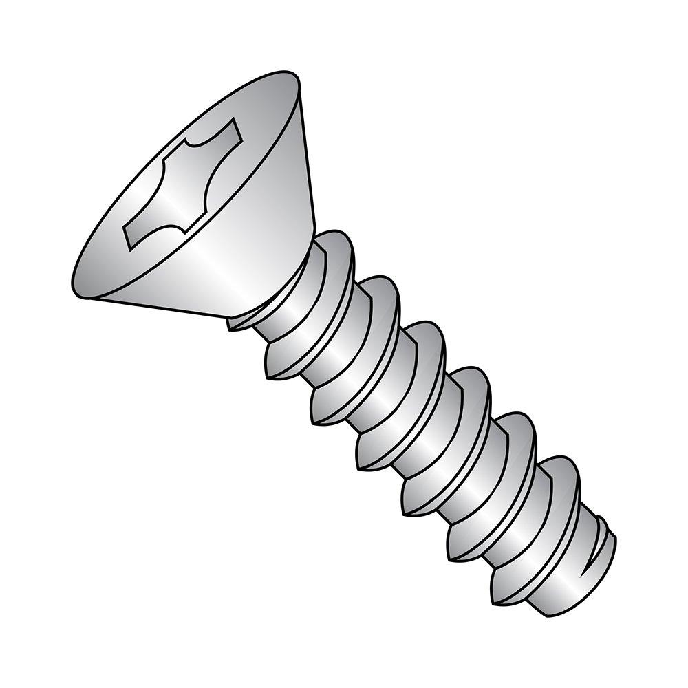 Undercut 82 degrees Flat Head Zinc Plated Phillips Drive Type A 1//2 Length #6-18 Thread Size Pack of 100 Steel Sheet Metal Screw
