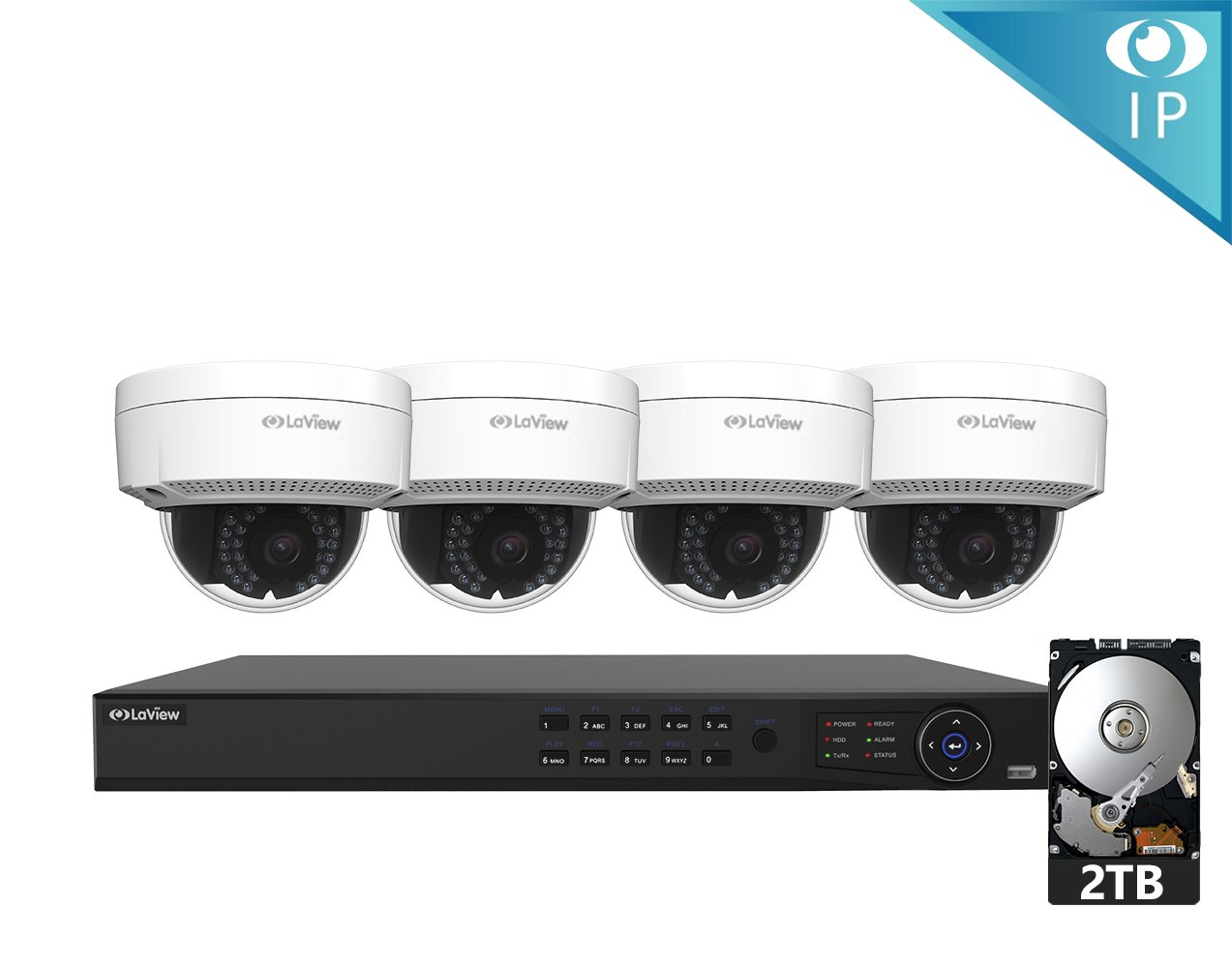 LaView 1080P IP 4 Camera Security System, 8 Channel IP PoE HDMI NVR (Resolution 1080p - 6MP) w/2TB HDD and 4 IP High Resolution Dome 2MP White Surveillance Camera Kit
