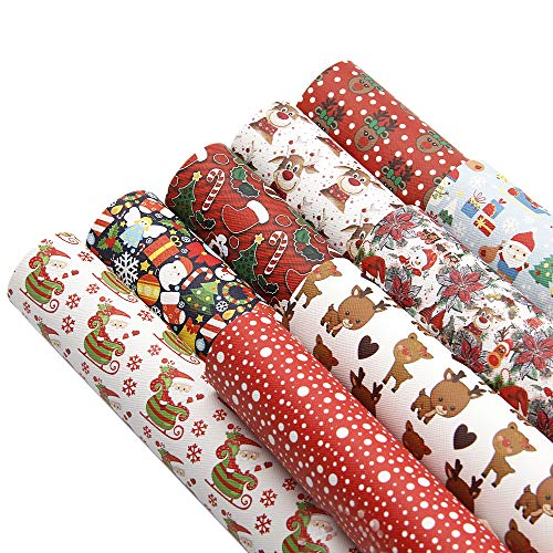 David accessories Christmas Gifts Pattern Printed Faux Leather Sheets Fabric Canvas Back 9Pcs 8