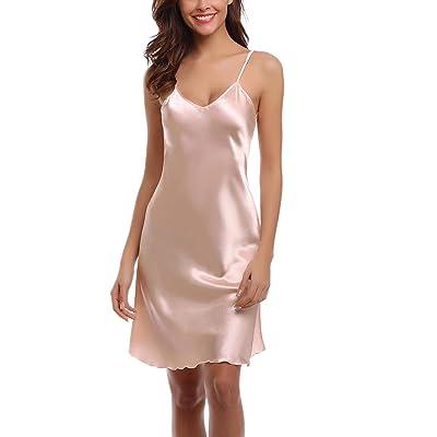 Abollria Women's Satin Full Slip Dress Spaghetti Strap Nightdress Lingerie Chemise Nightgown Champagne at Amazon Women's Clothing store