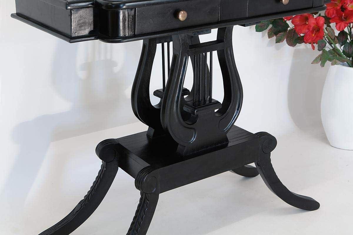 Tisch Wandtisch Konsolentisch Lyra Massivholz in schwarz antik Stil 1097