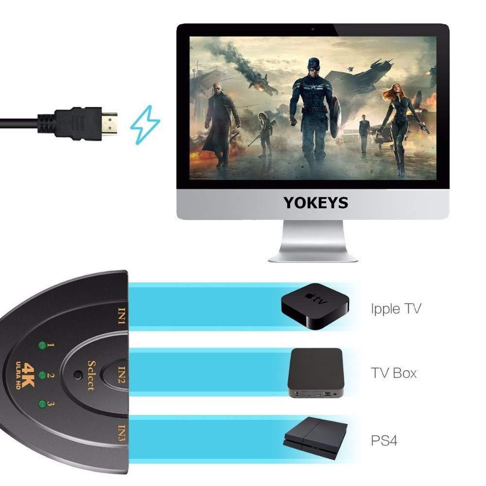 YOKEYSÂ 3-Port 1080P HDMI Switch Hub for HDTV
