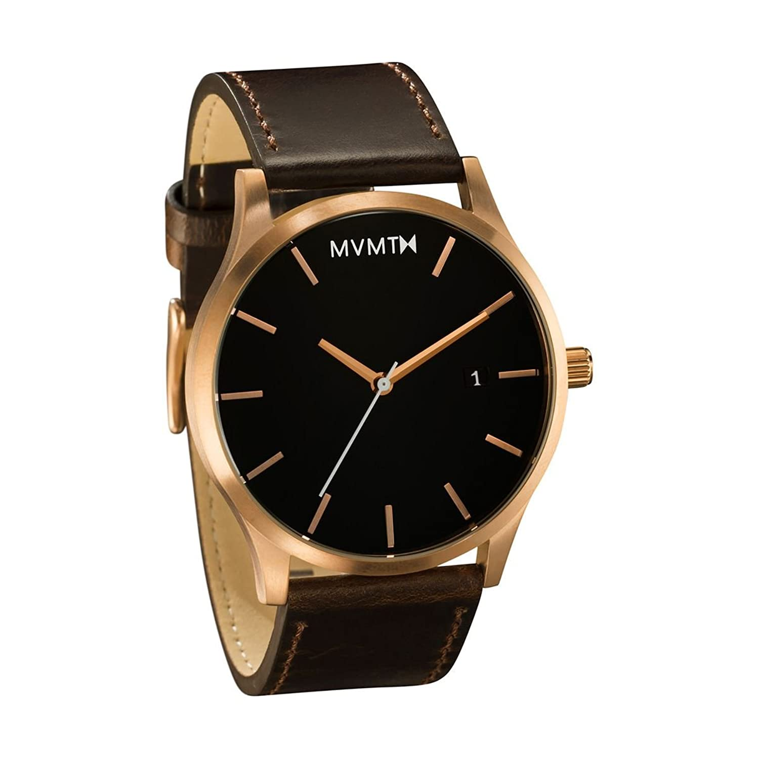 MVMT Herren Watch Uhr Rose Gold- Brown Leder Armband MM01RGL