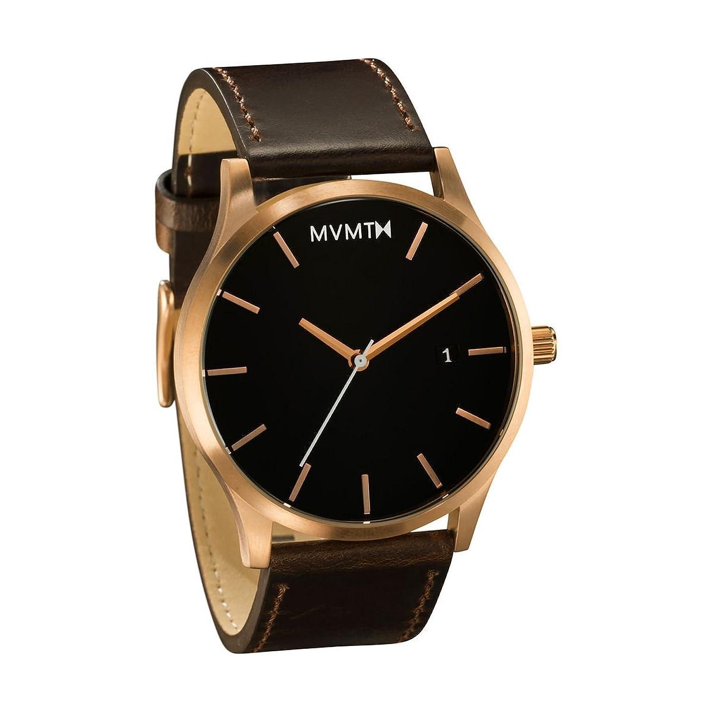 MVMT Herren Watch Uhr Rose Gold- Brown Leder Armband MM01RGL