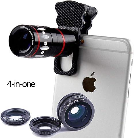 FUNXS Photography - Kit de Objetivos 4 en 1 para iPhone X 8 7 6 ...
