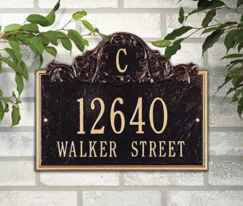 """Customized Acanthus Monogram Address Plaque 11""""H x 14""""W (3 Lines) by Whitehall (Image #1)"""