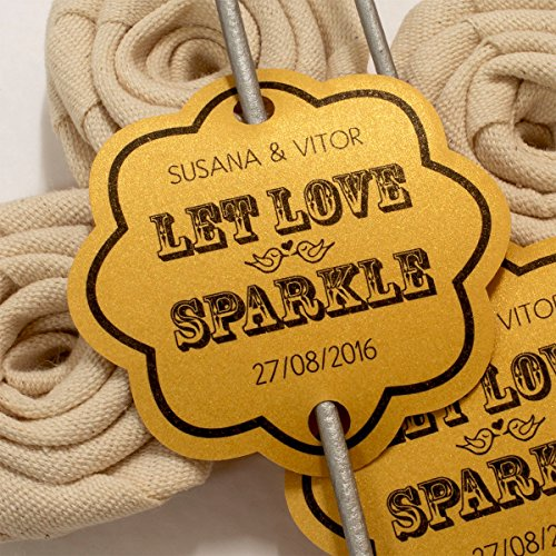 Summer-Ray 48 Personalized Shimmered Gold Vintage Scallop Wedding Sparklers Tags Let Love (Vintage Scallop)