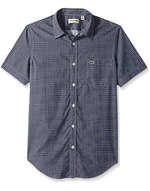Men's Short Sleeve Printed Poplin Slim Fit Woven Shirt