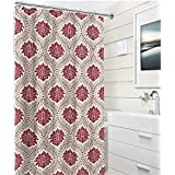 Elegant Embossed Fabric Shower Curtain: Red Taupe White Floral Damask Design