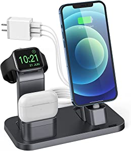 Charging Station for Apple Product, Conido 3 in 1 Charging Station for iPhone 12 mini/12 Pro Max/SE New/11 Pro Max, for AirPods/AirPods 2, for Apple Watch SE Series 6/5/4/3/2/1 Charger Gray